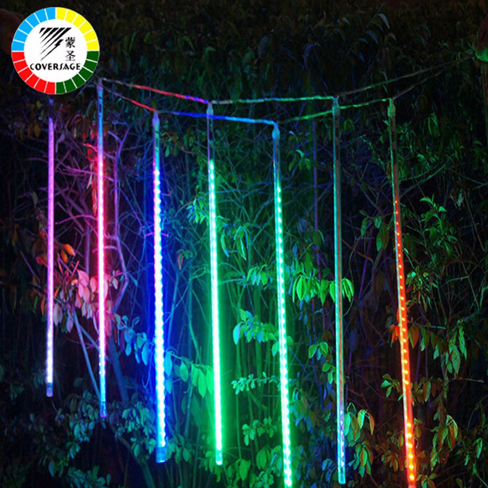 coversage 50cm meteor shower tubes christmas tree lights outdoor led string garland garden. Black Bedroom Furniture Sets. Home Design Ideas