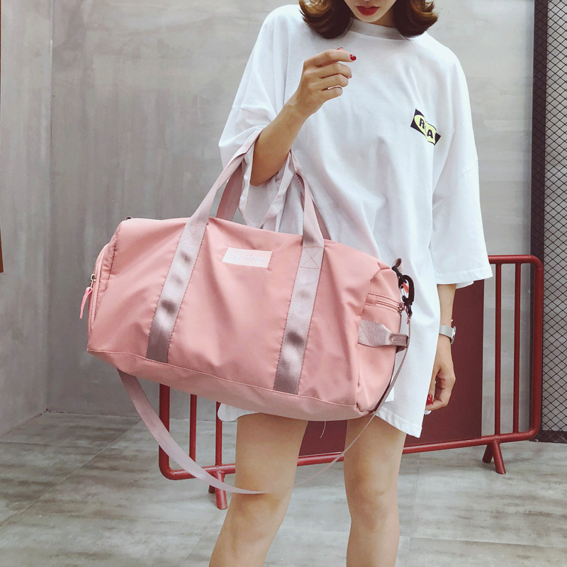 Pink Sports Gym Bags for Women Duffel Shoulder Handbag Fitness Train Bags Waterproof and Portable Swimwear Travel Tourist Bag in Gym Bags from Sports Entertainment