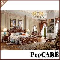 Итальянский Французский антикварная Мебель для спальни Европа Дизайн кожа King Размеры кровать вилла Мебель роскошный Европейский Мебель