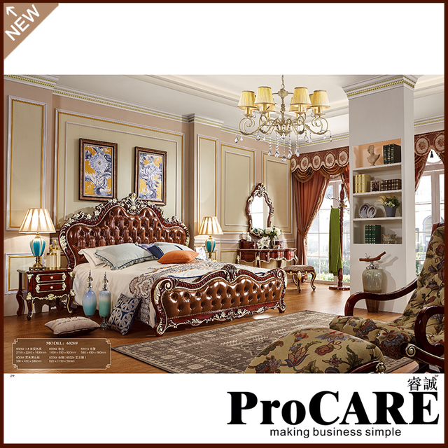 Elegant Italian French Antique Furniture Bedroom Furniture Europe Design Leather  King Size Bed Villa Furniture Luxury European