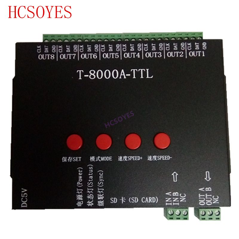 T8000A rgb LED Controller For ws2812b/WS2811/WS2813/LPD6803/DMX512 Strip Program + Power adapter RGB 8192 Pixel