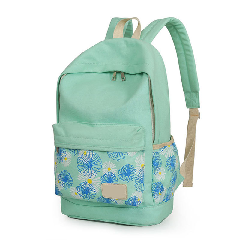 3pcs set Printing Backpack Women School Bags Canvas Chrysanthemum Prints For Teenage Girls LXX9