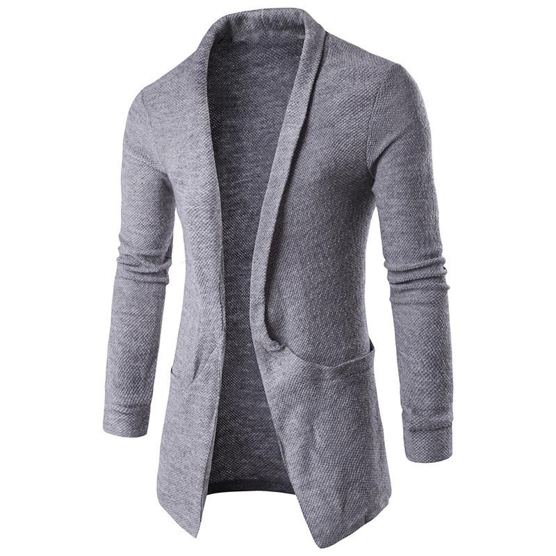 2019 Mens Fashion Autumn Winter Long Sleeves Lapel Neck Sweater Coat Long-Length Cardigan Coffee White Grey Black Outwear blue flowy tops