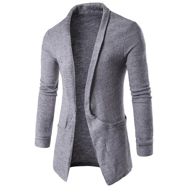 manga suéter larga moda 2018 cuello hombres Invierno Otoño solapa 4zwInxf67q