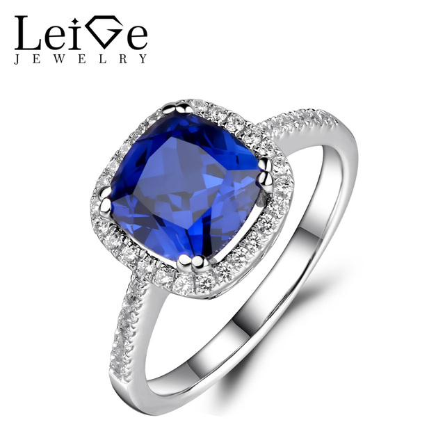 Leige Jewelry Sapphire Ring Halo Engagement Promise Rings for Women Sterling Silver 925 Anniversary Gift Blue Gemstone Jewelry