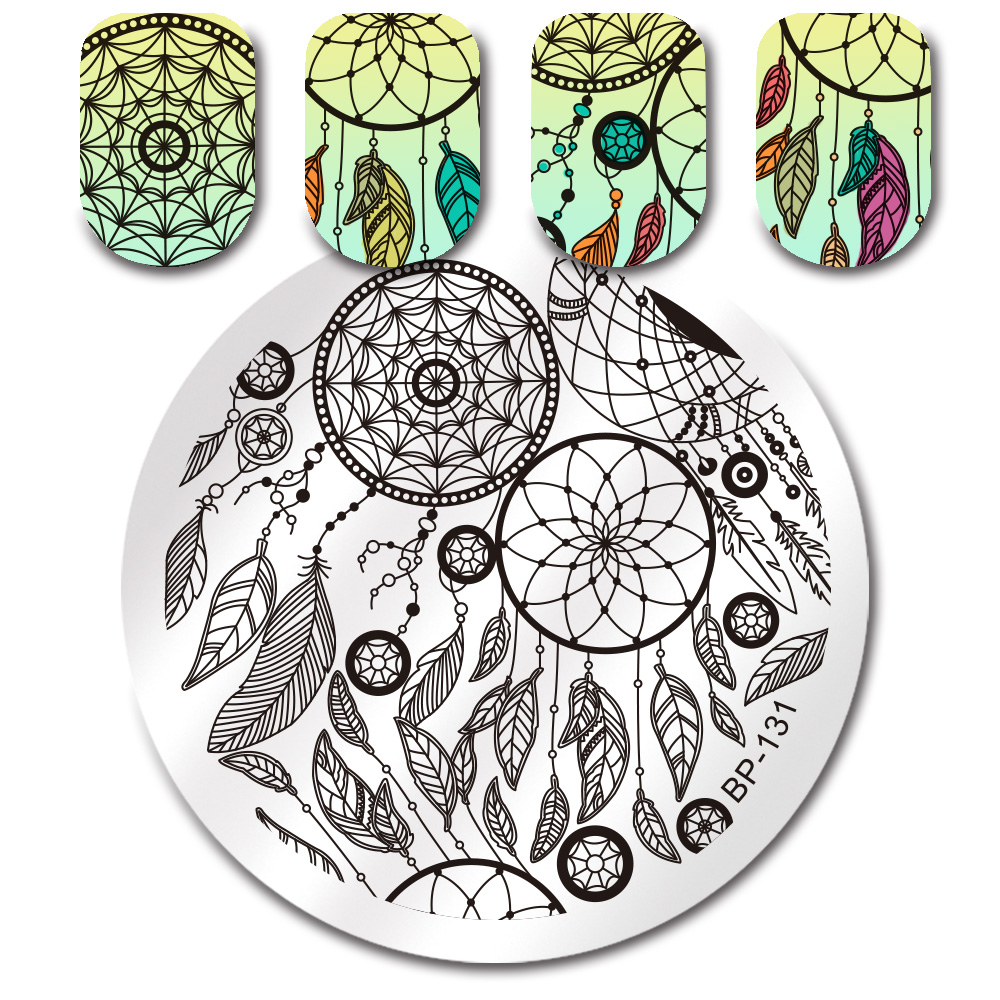 Geometric Reverse Stamping Nail Art Born Pretty Review: BORN PRETTY Nail Round Stamping Plate Emoji Dream Catcher