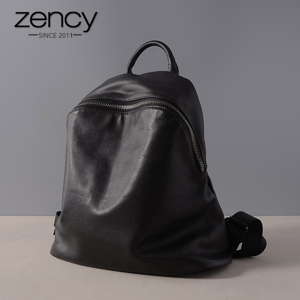 Zency Classic Black Women Backpack 100 Cowhide Genuine Leather Casual Travel Bag Preppy Style Girl s