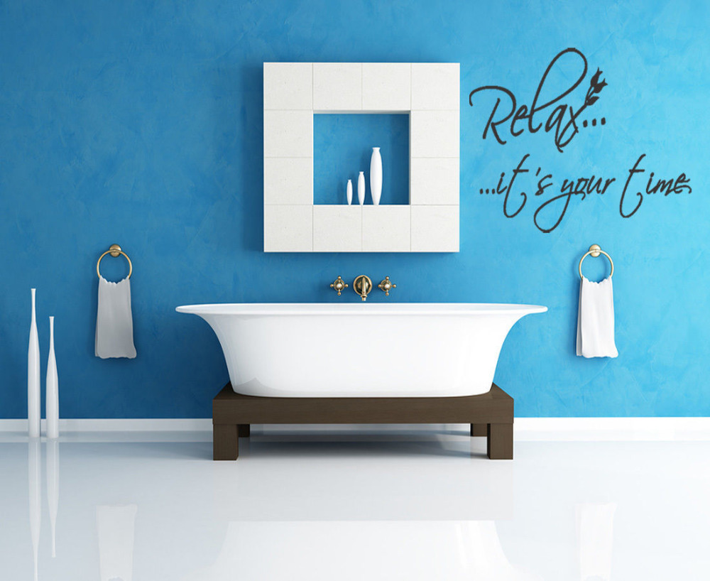 Vinyl walls for bathrooms - Relax It S Your Time Home Decoration Wall Sticker Living Room Wall Picture Bathroom Wall Tile Stickers Removable Vinyl Decor