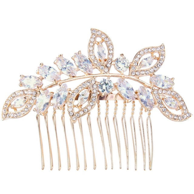 BELLA 2016 Light Rose Gold Plated Multiple Leaf and Oval Tear Drop Hair Comb Cubic Zirconia Bridal Hair Accessories