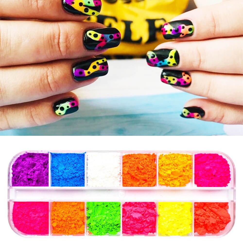 12 Colors /Set Neon Pigments For Nails Powder Glitter Fluorescent Dust Gradient Pigments Manicure Neon PowderFor Nails SF3080-in Nail Glitter from Beauty & Health