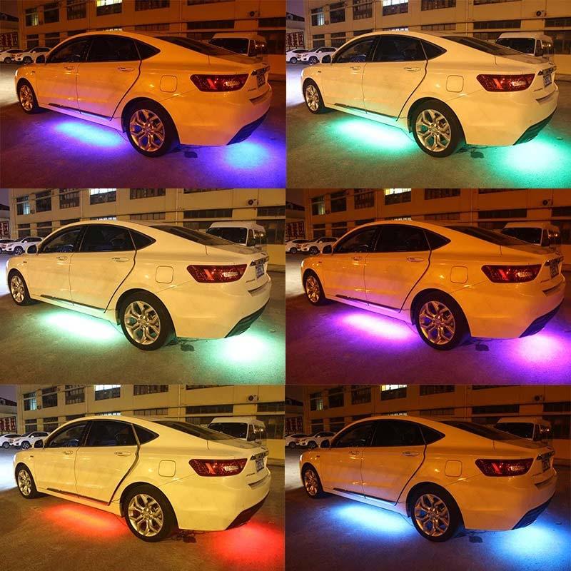 4 stks Auto Styling RGB Strips Licht 5050 SMD LED Strip Verlichting ...