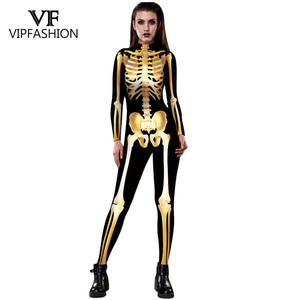 Image 3 - VIP FASHION New Graveyard Halloween Cospaly Costume For Women 3D Skull  Skeleton Ghost Jumpsuits Halloween Bodysuit