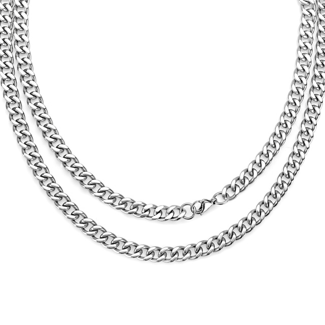 7c2a7fd02013 Pure Titanium Curb Chain Necklace For Men Women Hypoallergenic Light Weight  Choker Fashion Jewelry