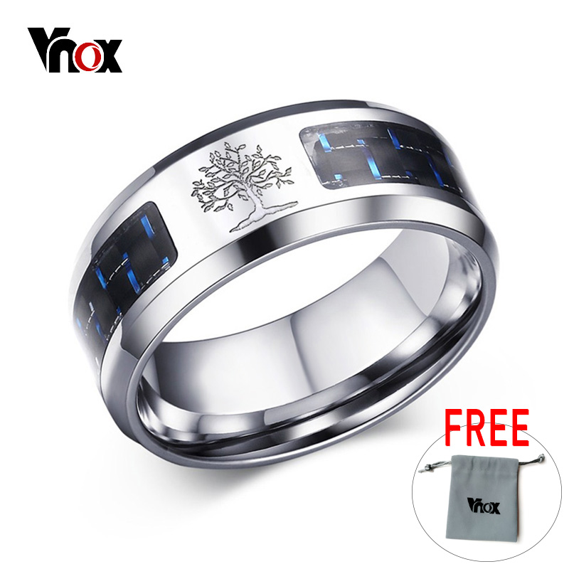 Vnox 8mm Personalize Carbon Fiber Ring For Man Engraved Tree Of Life Stainless Steel Male