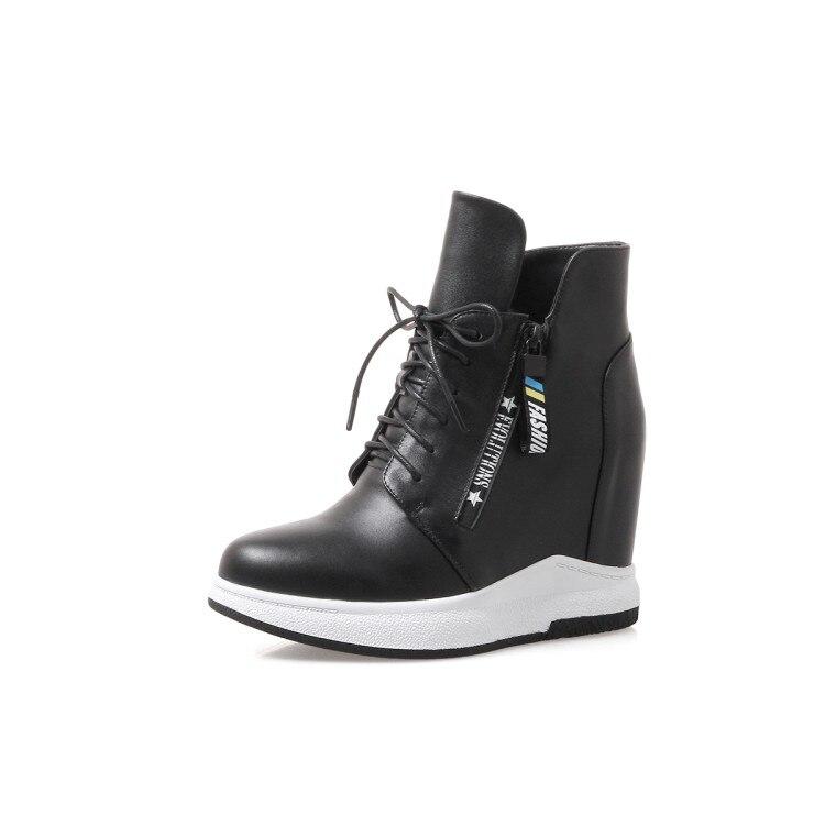 De forme Chaussures Bottes À Plate Hauts Zapatos Mujer Noir Nouveau 2018 Hiver Femmes Hauteur {zorssar} Talons Croissante blanc Cheville Botas 0SXqgI