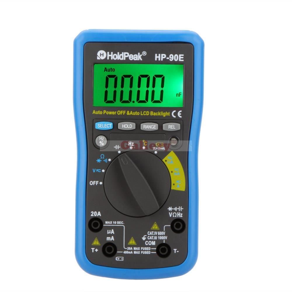 Holdpeak Hp-90e Digital Multimeter Auto Range Dmm Cap Hz Temperature Meter Battery Tester W Lcd Backlight Multimeter Auto Range