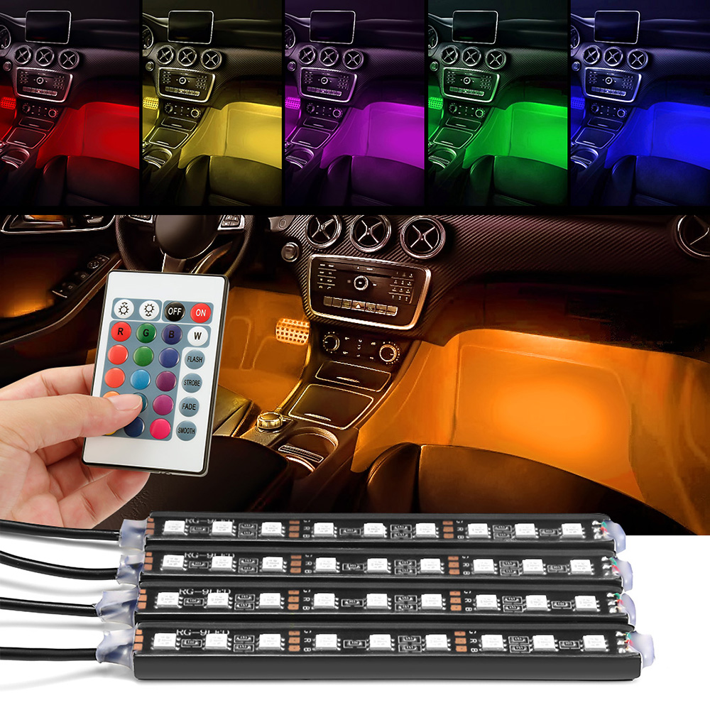 4x 9 LED Car Colorful RGB Light Interior Floor Atmosphere Lamp Strip Universal Decorative Light With Remote Control Car Styling 4 in 1 12v auto car atmosphere light interior floor dash decoration light foot led lamp bar 9 leds with cigarette lighter