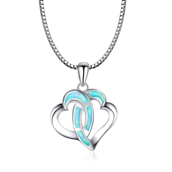 Double Heart Pendants Blue Fire Opal Necklace For Women Romantic Lover Christmas Gifts PJ180219006