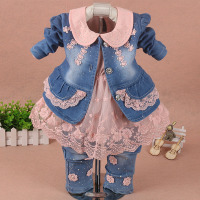 children set baby girl clothes 3 pieces suit coat denim pants autumn spring roupa jeans para infant toddler kid pink kit de bebe