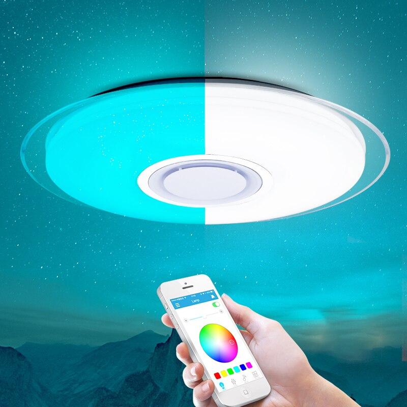 Moderno Luz de teto Conduzida Dimmable RGB controle remoto APP Bluetooth Música lâmpada do teto sala de estar/quarto 25 W 36 W 52 W 220 V