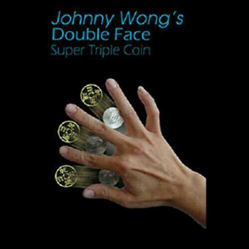 Double Face Super Triple Coin (Half Dollar Or Morgan Dollar Version) By Johnny Wong Magic Tricks Illusions Close Up Magic Props