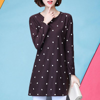 Fat Mm Long Sleeve Female Autumn Outfit 2017 New Style XL Cotton Blouse Loose Thin Medium