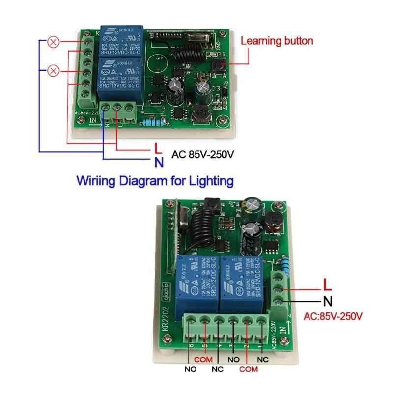 QACHIP 433 MHz ไร้สายรีโมทคอนโทรล AC 85V 250V 110V 220V 2CH รีเลย์ตัวรับสัญญาณและ RF 433 MHz Key CHAIN