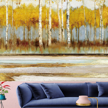 Abstract style wall hanging Tapestries Oil painting mechanism Birch forest personality  Hanging Home Decor