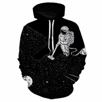 Pullover Sweatshirt Astronaut Clean 3D Print Space Galaxy Skateboarding Hoodies Unisex Plus Size Sport Hooded Top