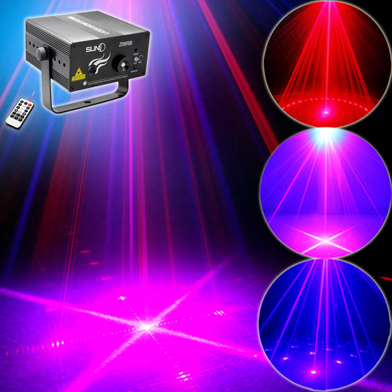 New Arrival Red Blue 9 Patterns Mini Laser Projector Lights With 3W Led For Dj Disco Party Wedding Events Remote & Sound Control transctego laser disco light stage led lumiere 48 in 1 rgb projector dj party sound lights mini laser lamp strobe bar lamps