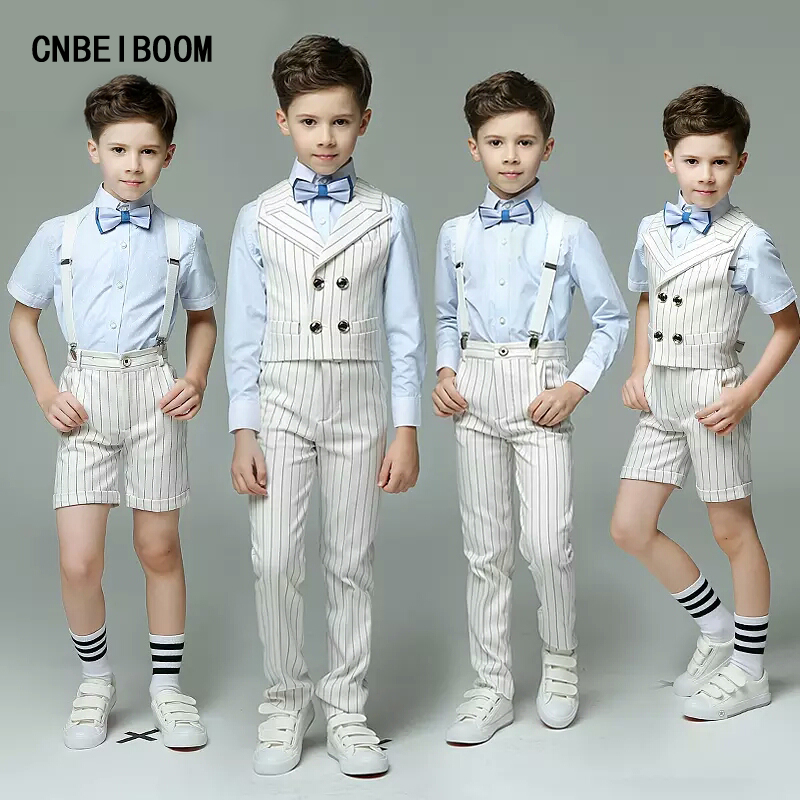 Double Breasted Striped England 4pcs/Set(Vest/Strap+Shirt+Pants+Bow Tie) Groom Boys Formal Wedding/Party/Show Suits clothes sets kindstraum school trend boys formal clothing suits shirt vest pants tie 4 pcs set children sets party