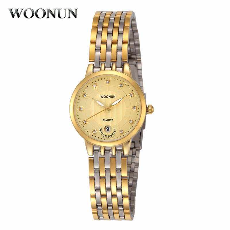 Relojes WOONUN de lujo para mujer, relojes de cuarzo Japón, de acero, con diamantes, para damas, reloj de oro, vestido de lujo para mujeres, reloj femenino