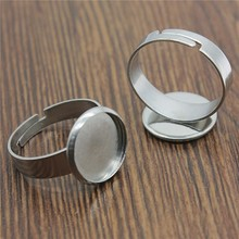 WYSIWYG 5pcs Fit 10~25mm Round Glass Cabochon Stainless Steel Material Simple Adjustable Ring Setting Base For Jewelry Making