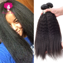 7A Malaysian virgin hair 100g/bundle Ali moda kinky straight human hair weave Stema hair Coarse Yaki Malaysian straight hair