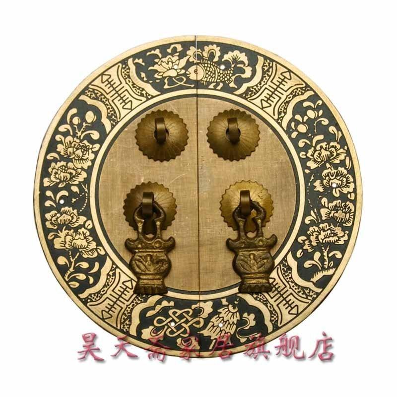 [Haotian vegetarian] circular house handle Chinese antique copper handle 14cm diameter HTB-032 [haotian vegetarian] chinese antique cabinet drawer handle copper htb 147 section diameter 18cm beizitou