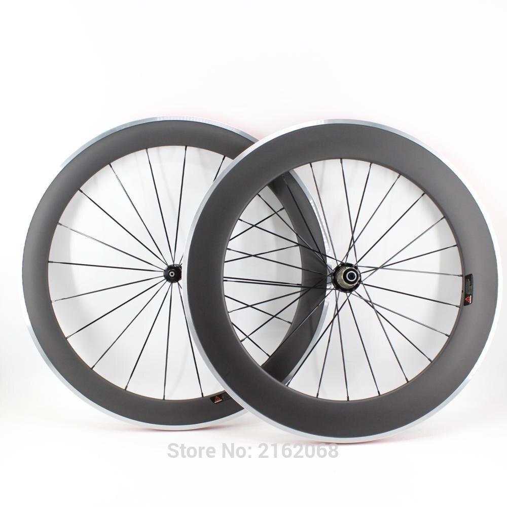 Tout nouveau 700C avant 60mm arrière 80mm pneu jantes route vélo mat UD carbone vélo roues avec alliage surface de frein livraison gratuite
