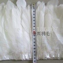 Белое гусиное перо планки 20 м/лот Окрашенные гуси перо ленты 4-6 дюймов/10-15 дюймов утка перо полос