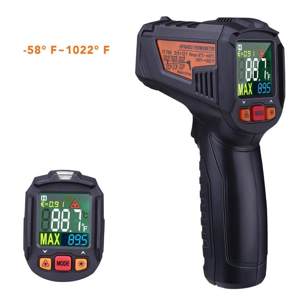 Termometro a infrarossi-58F ~ 1022F (-50C ~ 550C) senza Contatto del Laser Pistola Temperatura con Schermo LCD A Colori, Emissività Regolabile Allarme