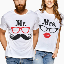 New Fashion Brand Couple T-Shirts For Lovers Short Sleeve Funny Letter Mr Mrs Print Tshirt Top Loose Women Tee Shirt Men Clothes