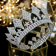 Luxury retro CZ silver headdress round big crowns bride hair accessories queen crown for wedding accessories hairstyle