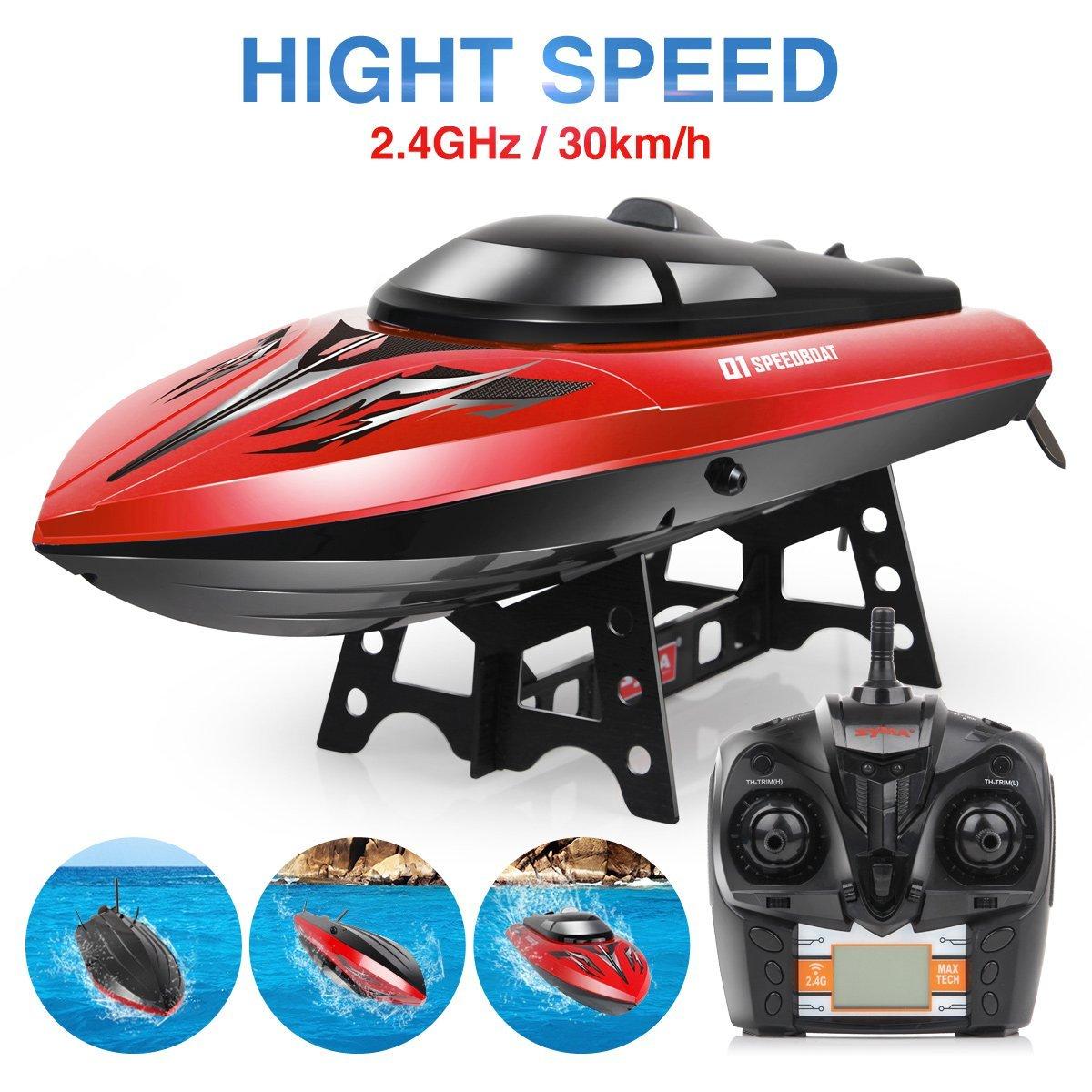 EBOYU (TM) Syma nouveau Q1 2.4 GHZ 4CH jouets pour enfants vitesse RC bateau haute Performance hors-bord étanche