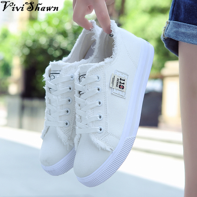 2017 Spring Women Casual Canvas Shoes Solid Color Lace Up Denim