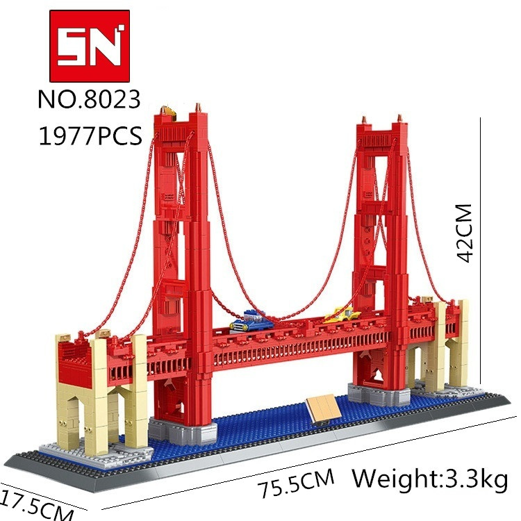 Free shipping 8023 1977Pcs Street View Series Golden Gate Bridge Model Building Blocks set DIY Bricks bab Toys for Children world famous architecture 1977pcs wange blocks golden gate bridge model building bricks set diy assembly toys for children 8023