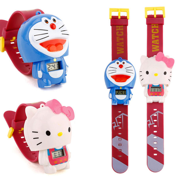 Children Watch Doraemon  Batman Captain America Hello Kitty Nijago Hulkbuster Iron Man Spiderman Toy for Children Watch Girl Boy