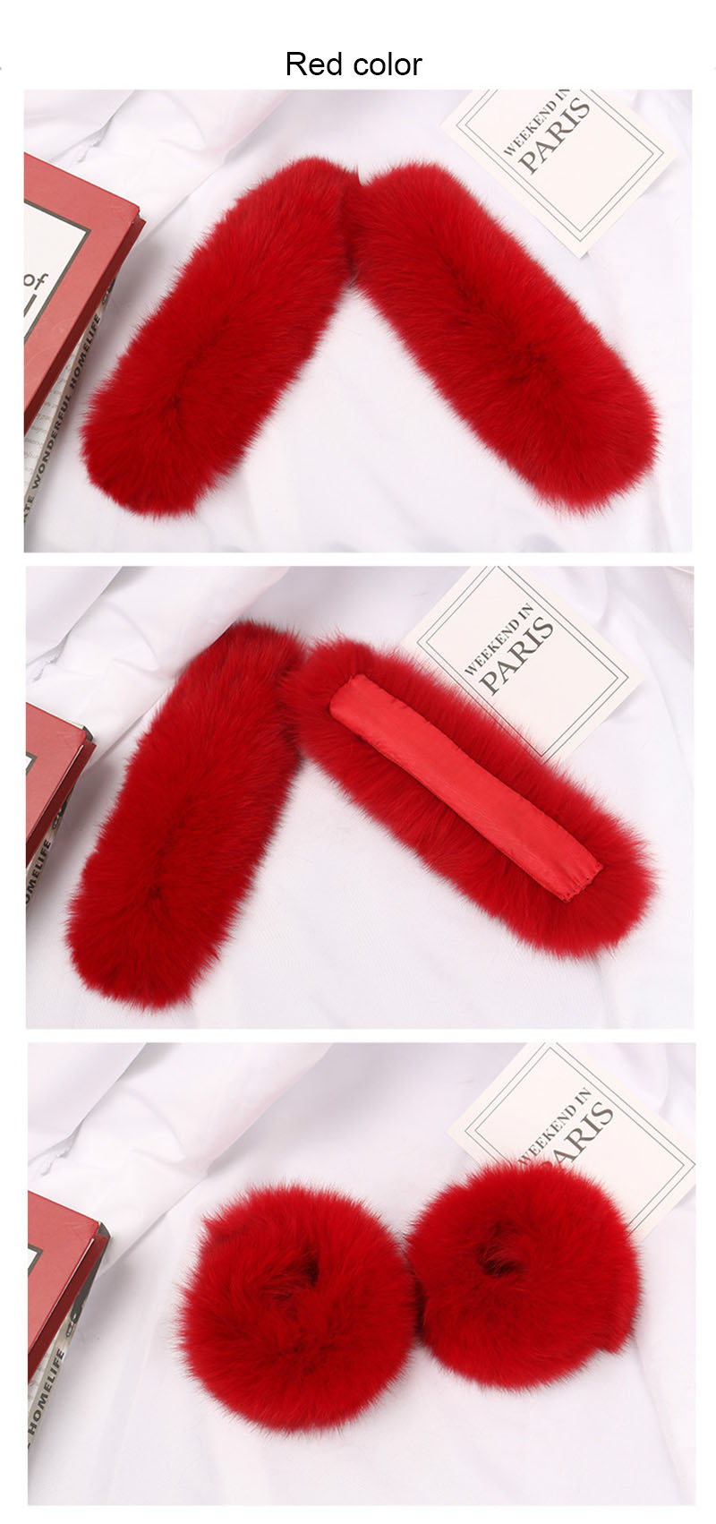 fox fur slap cuffs color red