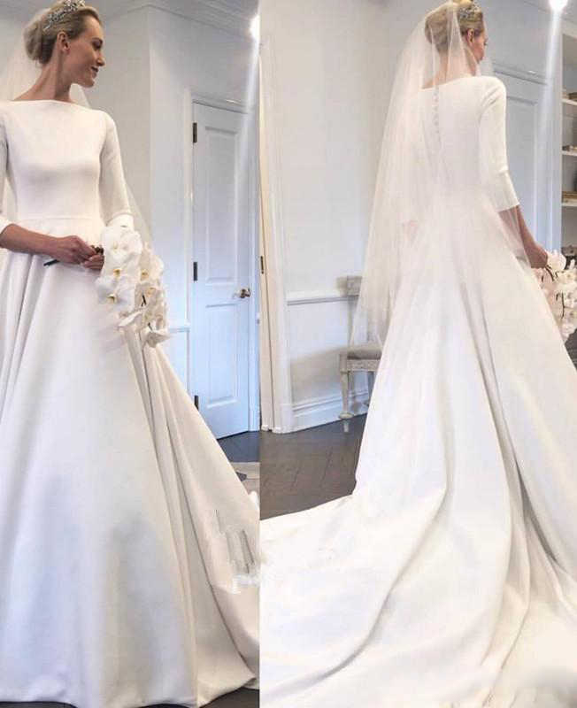 327c3bffb9 2019 New Meghan Markle Style A Line Elegant Wedding Dress Bateau Neck Long  Sleeves Covered Buttons Back Garden Bridal Gowns