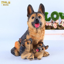 DMLS Mother Baby Dog Figures Figurines Resin Artware Maternal Love Cute Doll Gift For Home Decoration 1 Piece Free Shipping