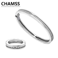 CHAMS Bvlgaria B.ZERO 1 Classic Rome Single Row Diamond 925 Silver Couple Ring Birthday Gift Factory Outlet Mother's Day Gift
