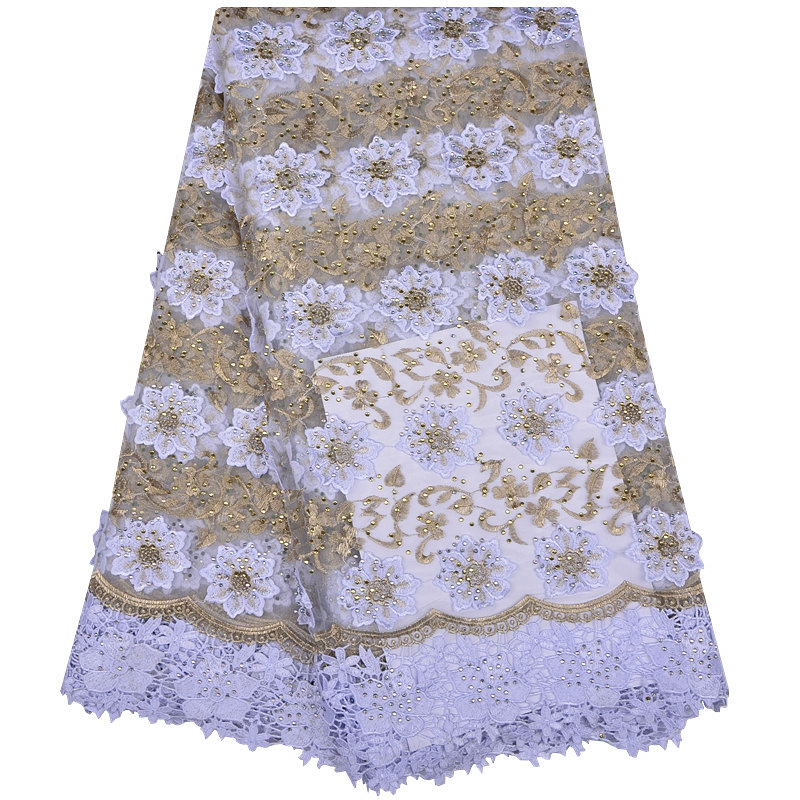 Fashionable 3D Flower Designs High Quality African French Lace Fabric 3D African Tulle Lace Fabric For