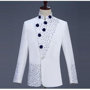 Image 3 - 18th 世紀白人男性のツーピースウエディングドレススーツレトロブルーダイヤモンド中国チュニックスーツ & ブレザー衣装 S 2XL